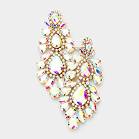 Oversized Marquise Crystal Clip on Evening Earrings