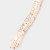 Wide Crystal Rhinestone Pave Hand Chain Evening Bracelet