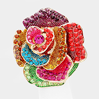 Oversized Crystal Rose Flower Stretch Ring