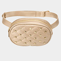 Studded Leather Square Stitch Mini Fanny Pack