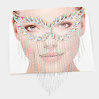 Crystal Rhinestone Pave Fringe Cat Eye Mask