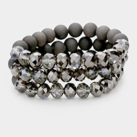 3PCS Glitter Bead Detail Stretch Bracelets