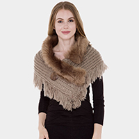 Faux Fur Collar Detail Cable Knit Tassel Shawl Scarf