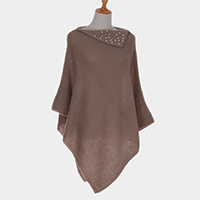 Pearl Detail Knit Open Cape Poncho