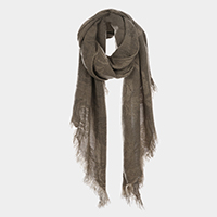 Rose Flower Patterned Tassel Fringe Oblong Scarf