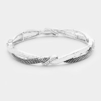 Braided Crystal Embellished Stretch Bracelet