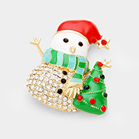 Crystal Embellished Snowman Pin Brooch