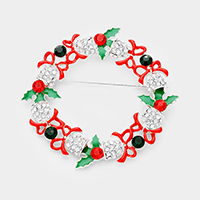Crystal Embellished Jingle Bell Wreath Pin Brooch / Pendant