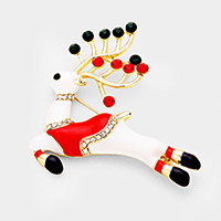 Crystal Embellished Enamel Rudolph Pin Brooch