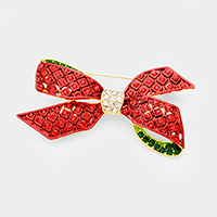 Crystal Embellished Christmas Bow Pin Brooch