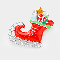 Crystal Embellished Christmas Santa Claus Shoe Pin Brooch