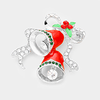 Crystal Embellished Jingle Bell Pin Brooch / Pendant