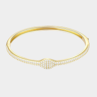 Gold Plated CZ Embellished Bangle Evening Bracelet