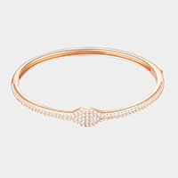 Rose Gold Plated CZ Embellished Bangle Evening Bracelet