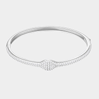Rhodium Plated CZ Embellished Bangle Evening Bracelet