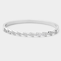 Rhodium Plated Oblique CZ Embellished Bangle Evening Bracelet
