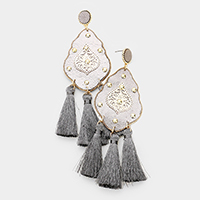 Studded Leather Petal Triple Tassel Earrings