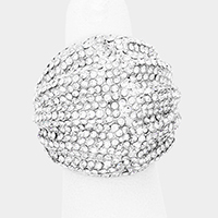 Crystal Rhinestone Pave Shell Dome Stretch Ring