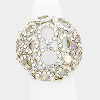 Cut Out Round Crystal Rhinestone Dome Stretch Ring
