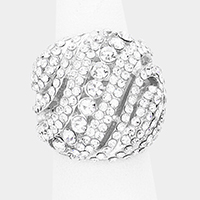 Wavy Crystal Pave Dome Stretch Ring
