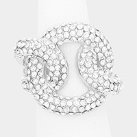 Linked Crystal Rhinestone Pave Stretch Ring