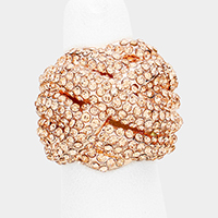 Crystal Rhinestone Pave Crisscross Dome Stretch Ring