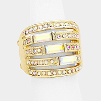 Split Triple Crystal Rectangle Accented Stretch Ring