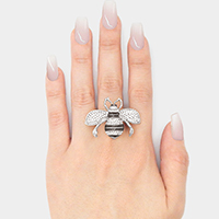 Crystal Embellished Queen Bee Stretch Ring