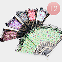 12PCS - Dot Patterned Print Folding Fans