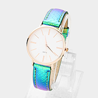 Round Dial Patterned Hologram Faux Leather Strap Watch
