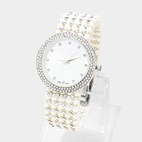Crystal Trim Round Dial Faux Pearl Watch