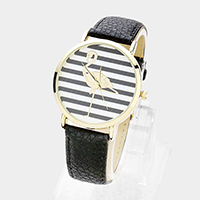 Striped Flamingo Round Dial Faux Leather Strap Watch