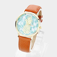 Leaf Print Pineapple Round Dial Faux Leather Strap Watch