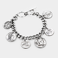 Metal Coin Disc Charm Station Toggle Bracelet