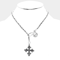 Beaded Metal Coin Metal Vintage Cross Pendant Necklace