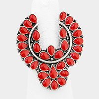 Tribal Enamel Red Coral Stretch Ring