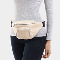 Solid Fluffy Faux Fur Sling Backpack / Fanny Pack