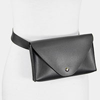 Faux Leather Solid Envelope Fanny Pack
