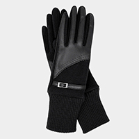 Half Leatherette Buckle Touch Gloves