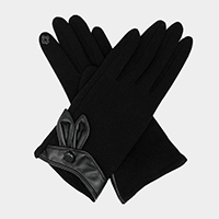 Rabbit Ear Leather Up Touch Gloves