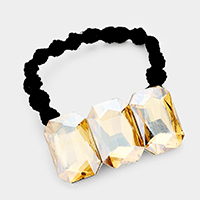 Triple Crystal Rectangle Accented Stretch Hairband