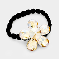 Crystal Flower Accented Stretch Hairband