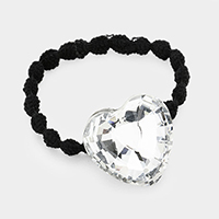 Crystal Heart Accented Stretch Hairband
