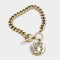 Metal Coin Disc Charm Toggle Bracelet