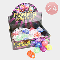 24PCS - LED Lighted Glow Flashing Jelly Rings