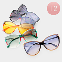12PCS - Oversized Cat Eye Wayfarer Sunglasses