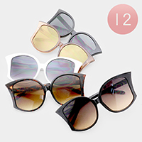 12PCS - Oversized Frame Detail Wayfarer Sunglasses