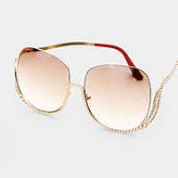 Crystal Austrian Frame Detail Square Sunglasses