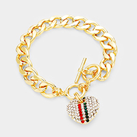 Color Block Crystal Pave Heart Charm Chain Link Bracelet