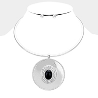 Crystal Oval Bead Accented Metal Round Pendant Choker Necklace